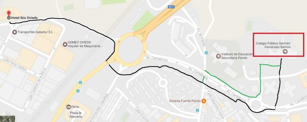 Trayecto hotel-colegio andando (dos posibles vías)