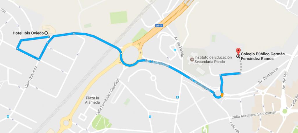 Trayecto hotel-colegio en coche (3')